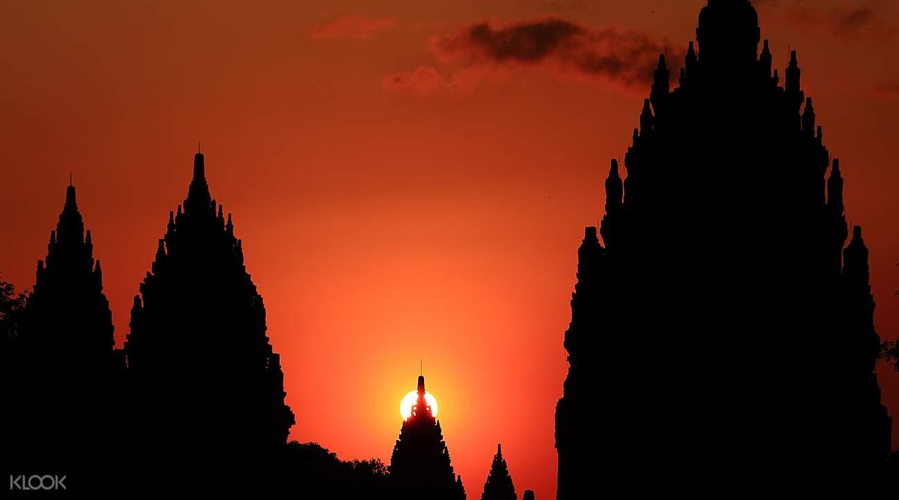 Prambanan temple in the orange sunset